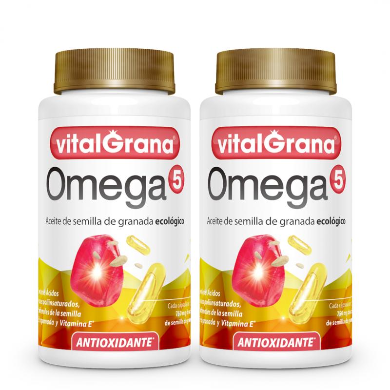 2 botes de Vitalgrana Omega 5 de 60 cápsulas.