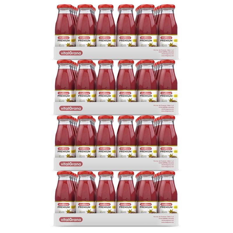 96 Botellines de Zumo de Granada 100% Exprimido 200 ml.